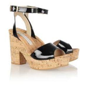 Stella McCartney Glossed Leather & Cork Sandals